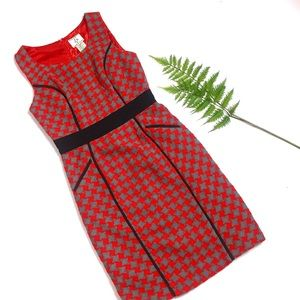 ICE Vintage Red & Gray Houndstooth Sheath Dress